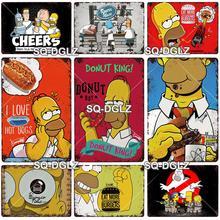 Cartel de Metal Vintage Simpson, placa de Donuts, letrero de estaño, decoración de pared para Bar, Pub, Artesanía de Metal, póster de hamburguesa, regalo personalizado al por mayor
