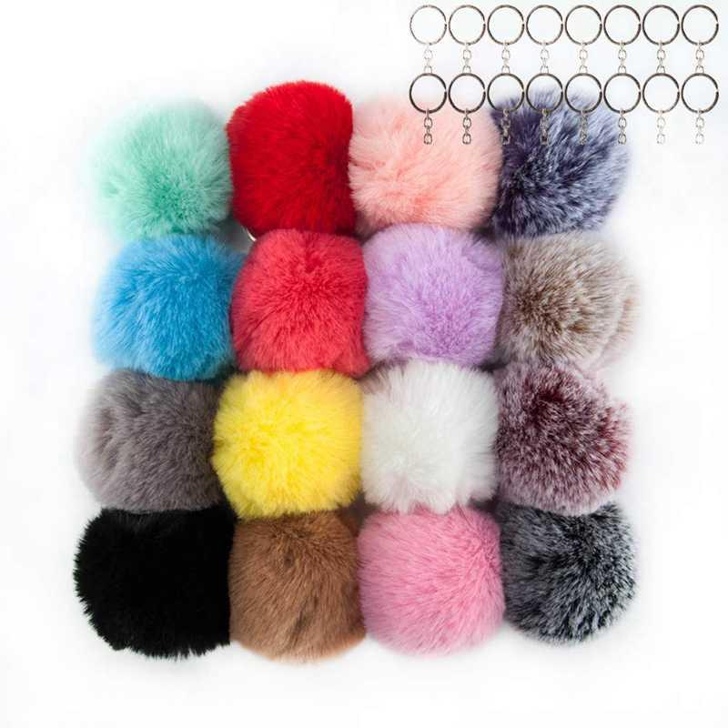 16 pçs da pele do falso fofos poms bolas chaveiro para chapéus sapatos cachecóis saco poms bolas bolsa charme para mulher (cores misturadas)