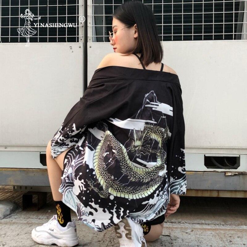 Yukata Women Japan Kimono Cosplay Costume Asia Japanese Kimono Traditional Cardigan Clothing Asia Vintage Print Shirt Blouses