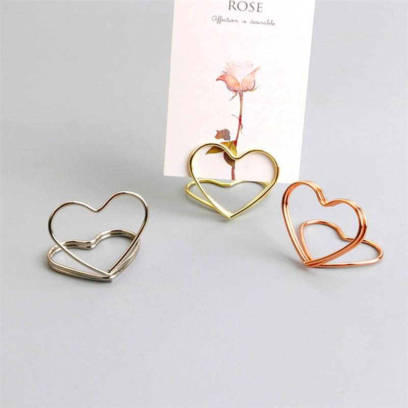 20PCS Metal Memo Holder Table Double Layer Heart Shape Placecard Holder Stand for Wedding Banquet
