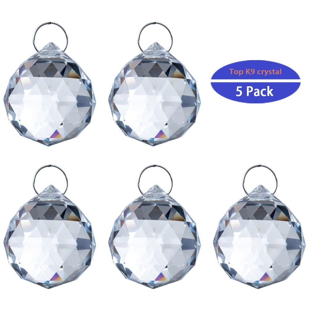 H&D 5pcs/lot 20mm Clear Faceted Crystal Chandelier Parts Pendant Prisms Lighting Ball Feng Shui Suncatcher Wedding Home Decor