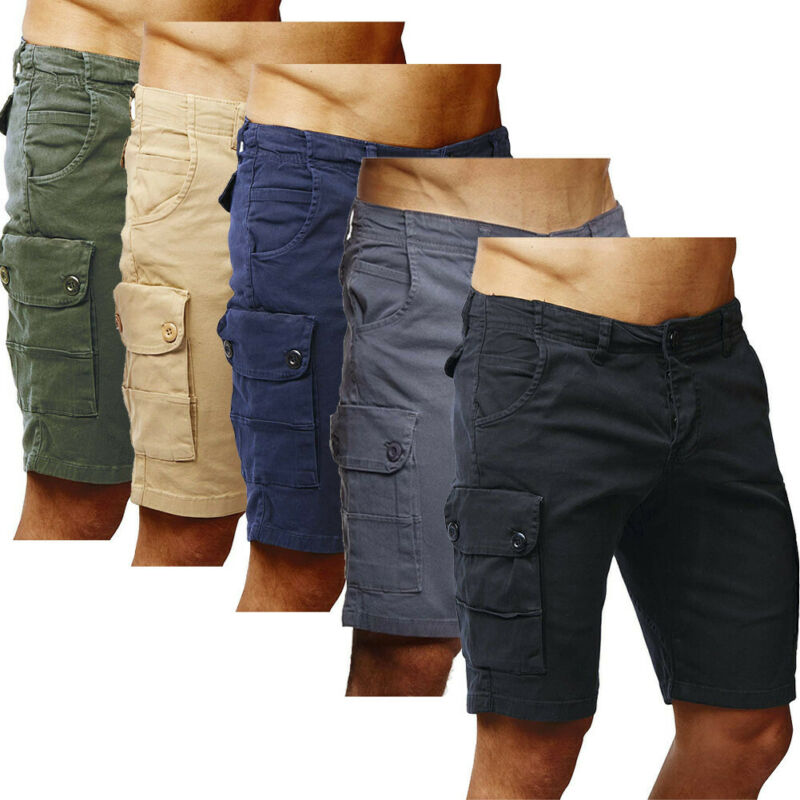 Mens Shorts Cargo Combat Cotton Casual Summer Half Pant Stretch Slim Short Work