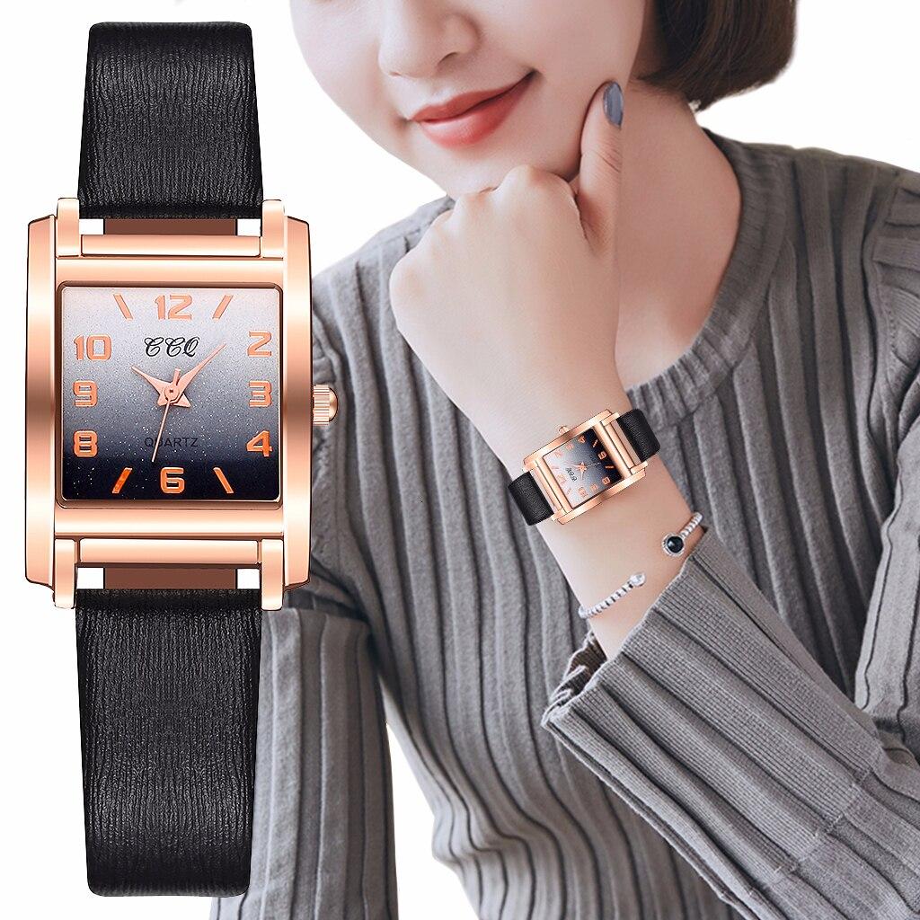 CCQ Women Leather Square Case Gradient Color Arabic Numbers Watch Luxury Ladies Quartz Watches Clock Relogio Feminino