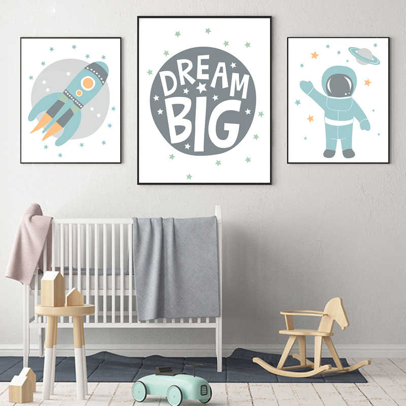 Astronaut Poster Space Rocket Baby Nursery Wall Art Canvas Poster Scandinavian Print Painting Kids Room Decorative Picture