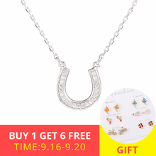 XiaoJing 100% 925 sterling silver horseshoe CZ Necklaces Pendants for Women lovely Chain Collier For Friend Gift free shipping