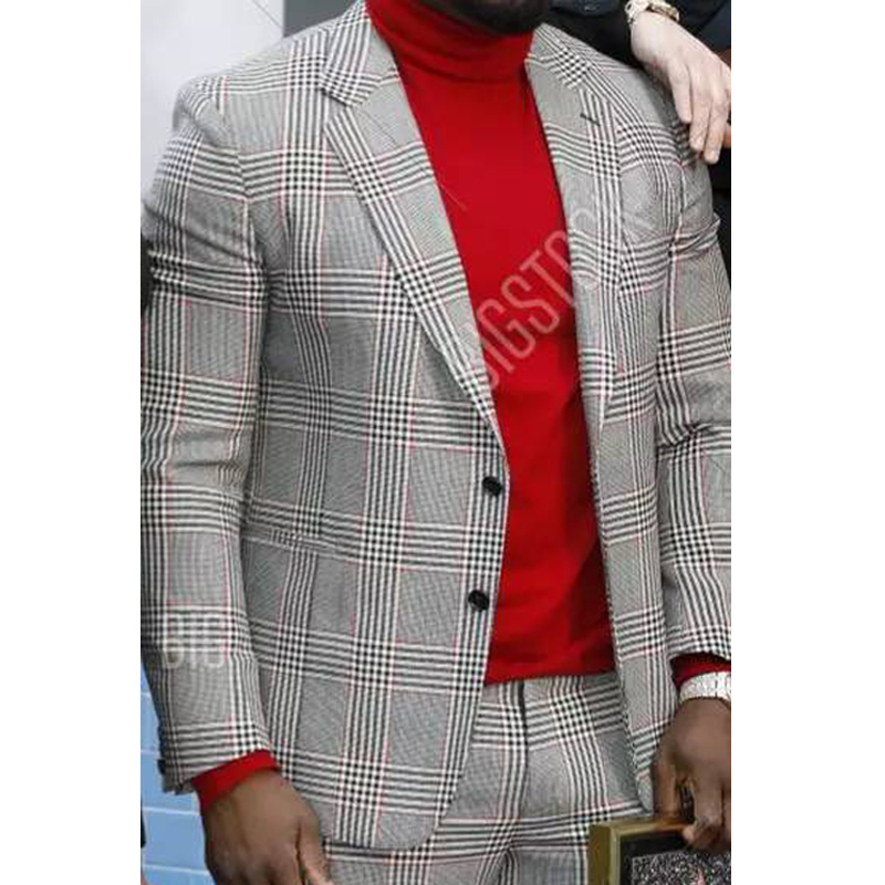 Plaid Suits For Mens Fashion Clothes 2020 2 Piece Wedding Tuxedos For Groomsmens Male Jacket With Pants Latest Design