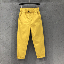 New Arrival Summer Women Harem Pants All-matched Casual Cotton Denim Pants Elastic Waist Plus Size Yellow White Jeans D321 cheap F JE Ankle-Length Pants CN(Origin) Ages 18-35 Years Old Spring 2022 Regular Softener HIGH Pockets LOOSE Light M L XL XXL 3XL 4XL 5XL 6XL