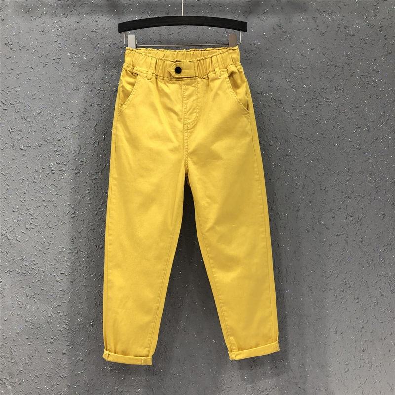 New Arrival Summer Women Harem Pants All-matched Casual Cotton Denim Pants Elastic Waist Plus Size Yellow White Jeans D321
