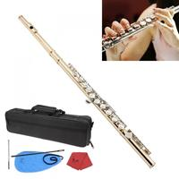 Gold 16 Holes C Key Flute Cupronickel Body Silver Keys with Storage Bag Cleaning Cloth Stick Gloves Etc