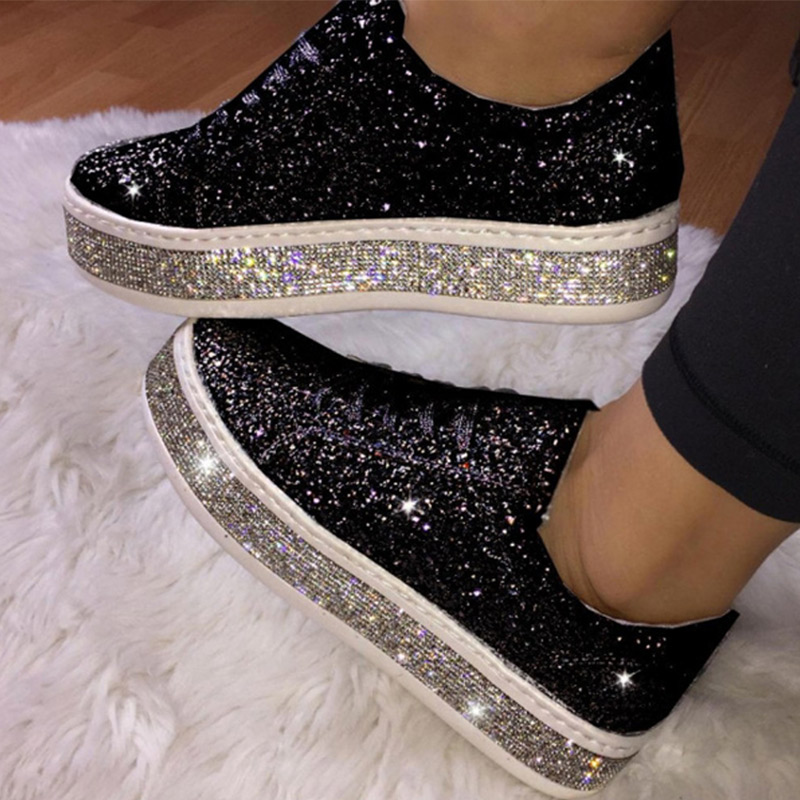 Women's Glitter Sneakers Woman Flat Shoes Spring Casual Ladies Vulcanized Female Flat Platform Lace Up Fashion Shoes 2020