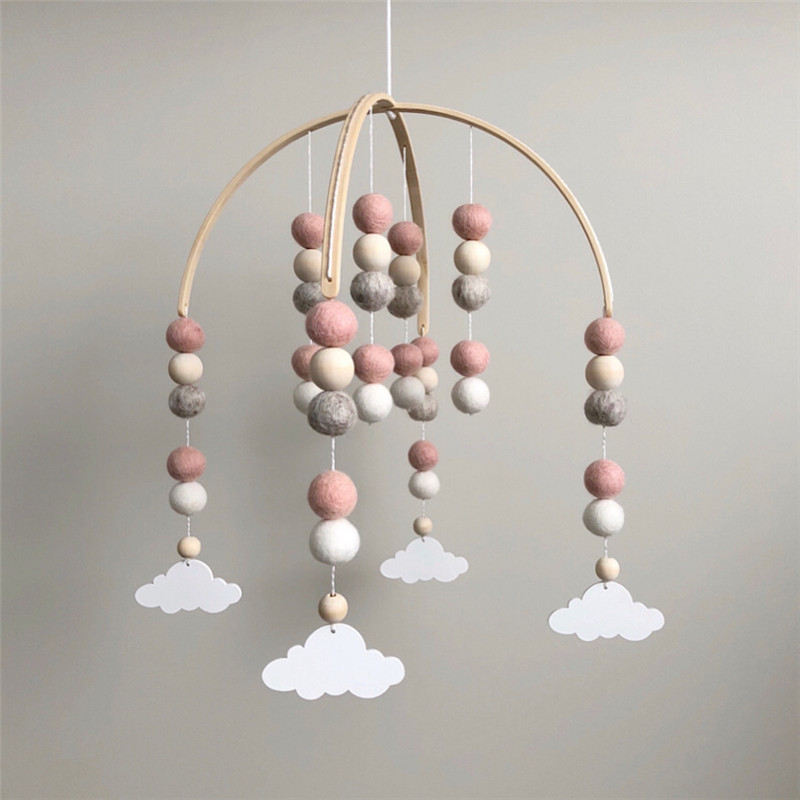 INS Nordic Cartoon Wooden Wool Ball Wind Chimes Newborn Baby Room Decor Photography Props Baby Bedroom Decoration Pacify