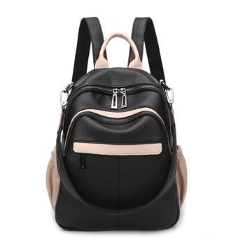Real Leather Backpack Women Soft Leather New Mochila Feminina Vintage School Bags for Teenage Girls Travel Bagpack