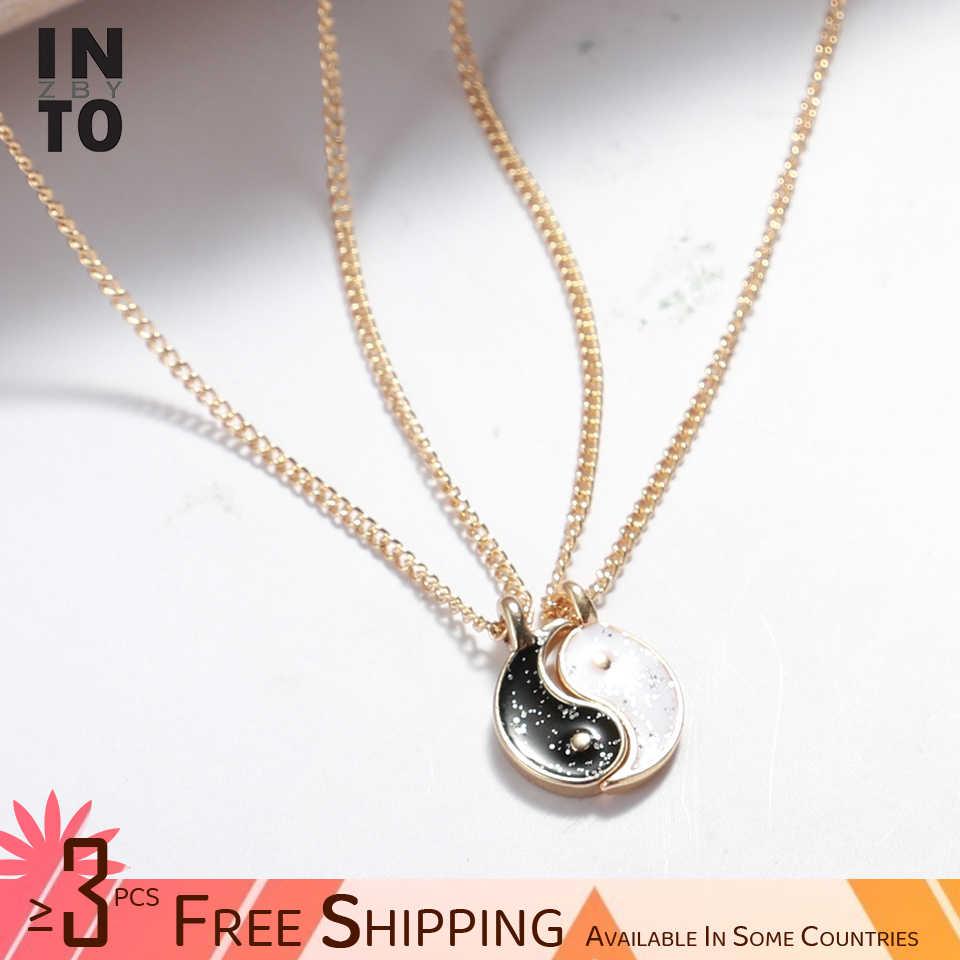 En el mejor amigo, collar para mujer, Color oro amarillo claro, regalo de joyería, negro y blanco con cadena de eslabones, collar de corazón ZA Gemini