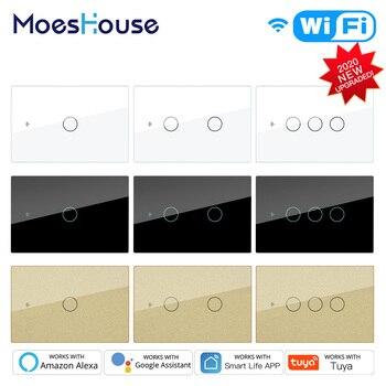 Smart Glass Panel Switch Smart Life/Tuya App Multi-Control Association, Voice Control With Alexa,Google Home,1/2/3 Gang