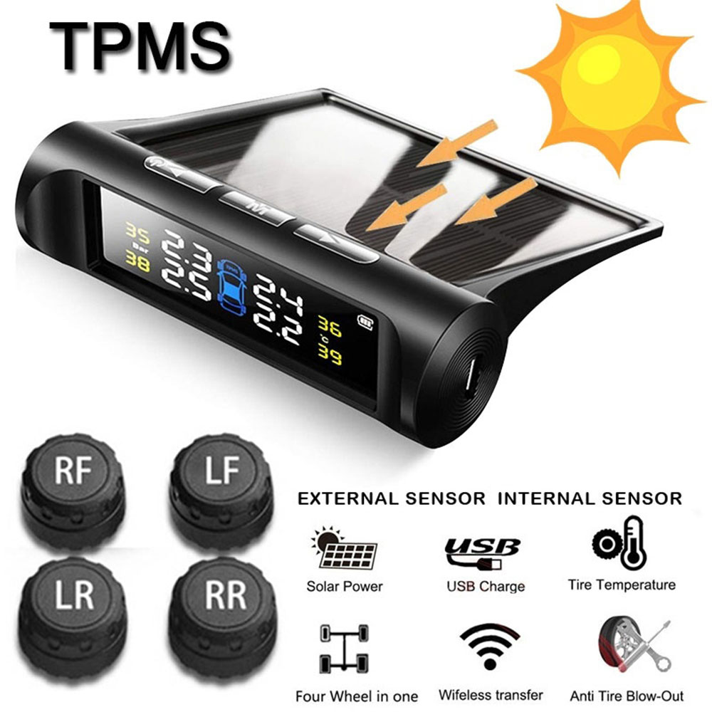 4 External Sensors TPMS Anti-Explosion Tire Pressure Sensor Solar Wireless Tire Pressure title=
