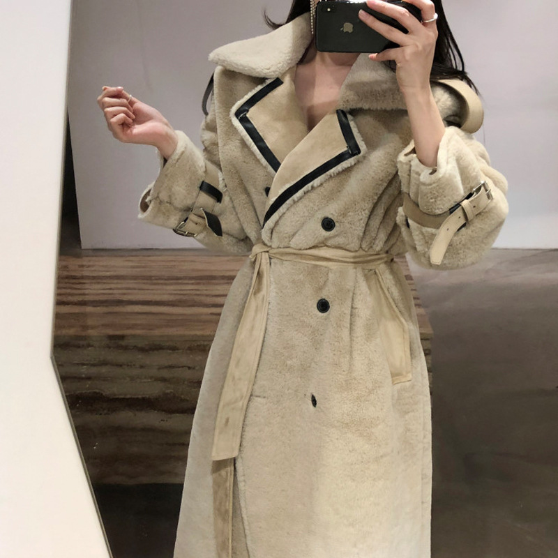 Lambs Wool Sheep Shearing Thick Woolen Jacket 2019 New Style Women's Autumn And Winter Popular Mid-length Fur Overcoat