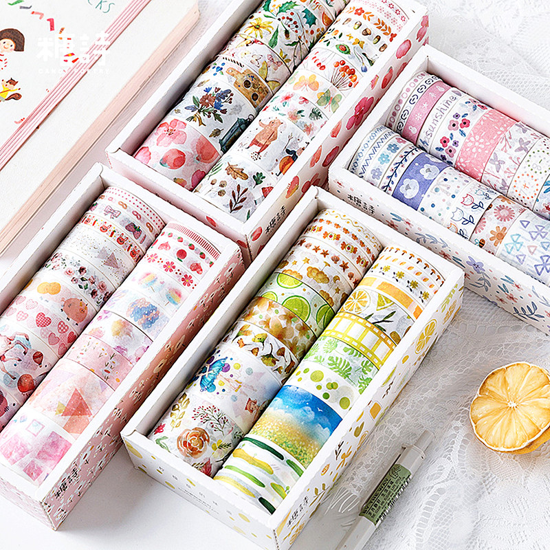 20 Rolls Flowers Washi Tape Set Round  Planner Emblishment  Pack Japanese Masking Decorative Washi Tape Pack