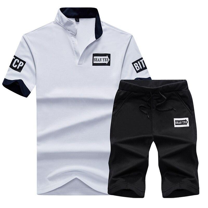 Summer Men Casual Sports Clothing Set MEN'S T-shirt Running Clothing Short Sleeve Shorts Two-Piece Set Men'S Wear