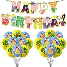 1 комплект свинья воздушных шаров из латекса, мультипликационной розовой свинки, вечерние, принадлежности для дня рождения баннер украшени...