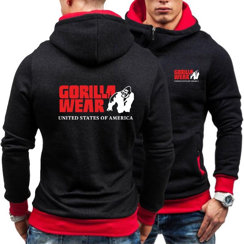 Мужские толстовки на молнии осень 2020 Мужская зимняя шапка с воротником пуловер с длинным рукавом Одежда gorilla толстовка спортивные свитшоты