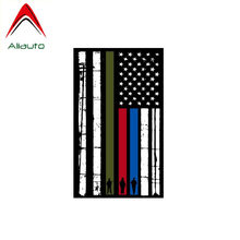 Aliauto Reflective Car Sticker Vertical Flag American flag Firefighter Police Military Waterproof PVC Decal for Kia Vw,12cm*7cm(China)