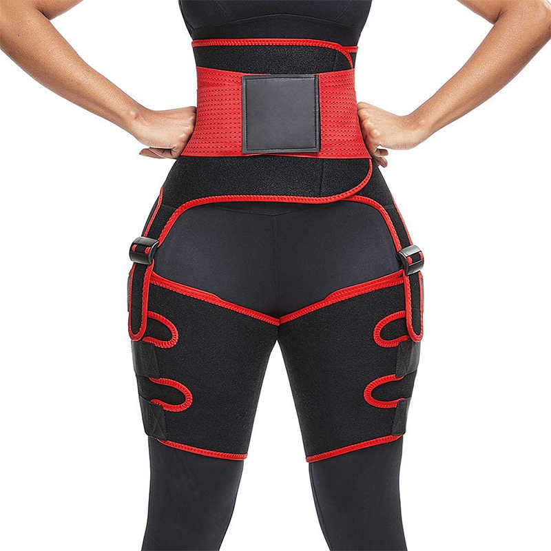 2 in 1 Waist Trainer and Thigh Trimmer Belt Sweat Effect Double Wrap Body Shaper