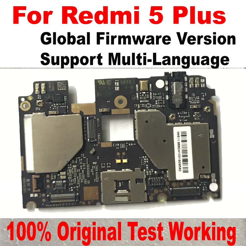 100% Original Unlock Global Version Mainboard For Xiaomi Redmi 5 Plus Motherboard Circuits Card Fee Full Chipsets Flex Cable