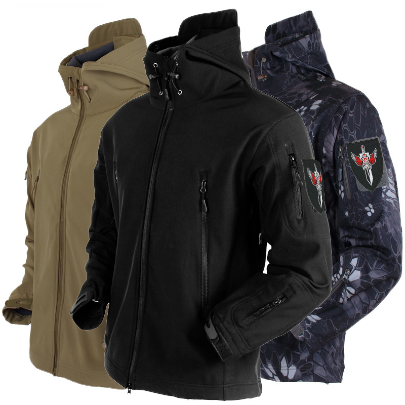 Men's Outdoor Three-in-One Coat Army Fans Fleece Special Forces Shark Skin Soft Cover Raincoat Jacket