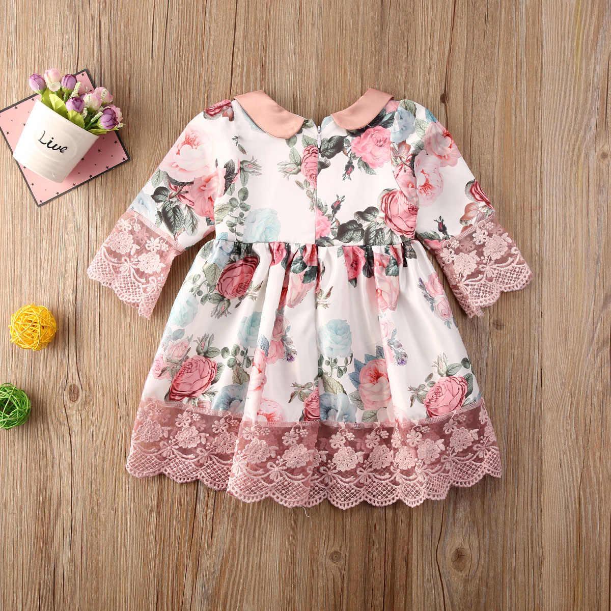Kids Baby Meisjes Prinses Zomer Casual Lange Mouw Jurk Bloemen Print Lace A-lijn Jurk 0-5Y