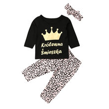 Emmababy Kids Baby Girl Clothes Princess Crown Tops Leopard Leggings Trousers 3PCS Outfit(China)