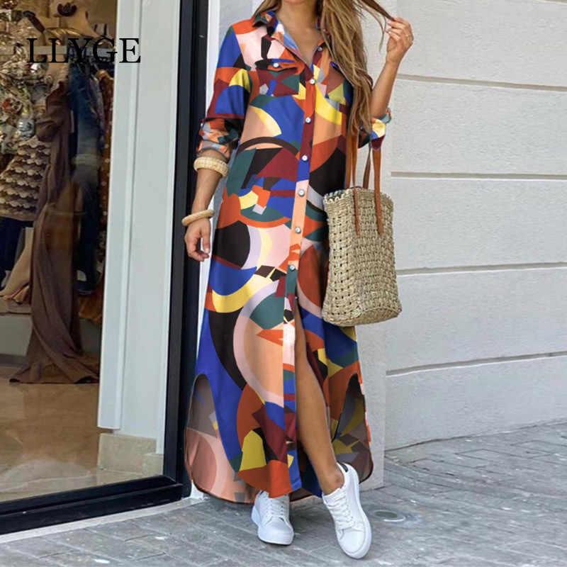 文字の迷彩プリントロングドレス女性スプリットロングスリー女性マキシドレス夏2020ファッションレディーvestidos