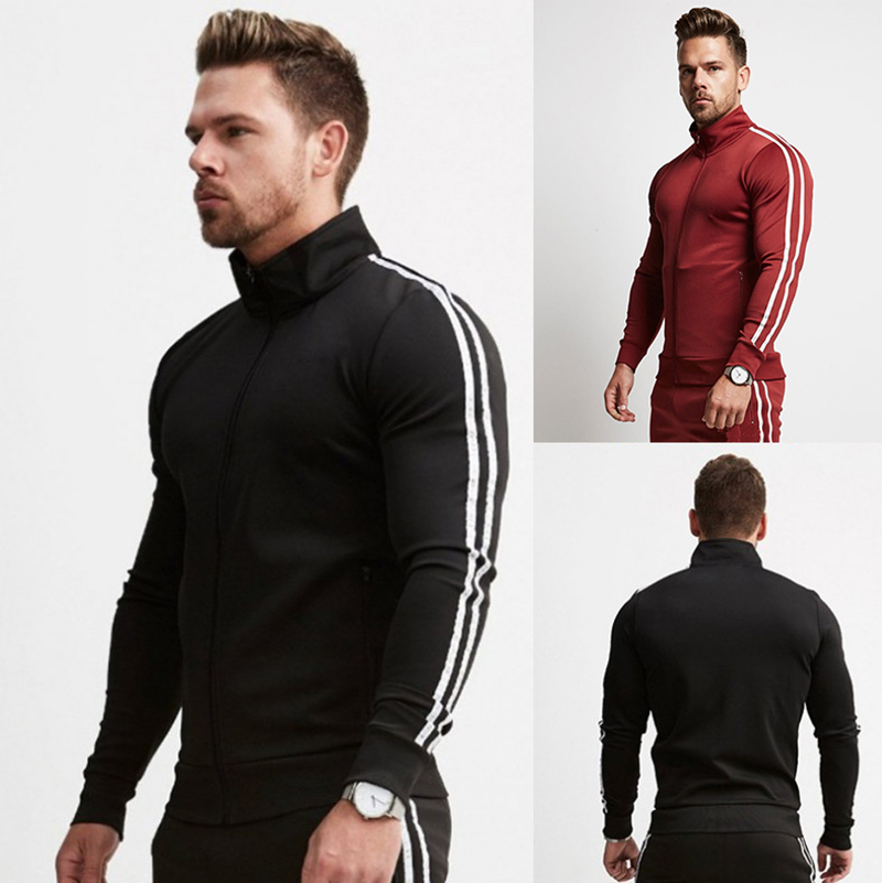 VQ Spring And Autumn High-quality Men's Sportswear Pants 2-piece Fitness Stretch Pants Bodybuilding Casual Sports Jacket Pants
