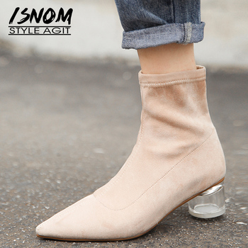 ISNOM Crystal Heels High Ankle Boots Women Fur Flock Sock Boot Pointed Toe Shoes Female Fashion Shoes Ladies Party Shoes Winter
