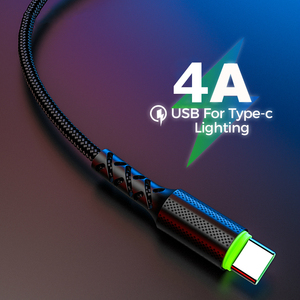 4A Led Lighting QC 3.0 Quick Charge Type C Cable for Xiaomi Mi 9 USB C Fast Charging for Samsung S8 S10 S9 Huawei Phone Charger