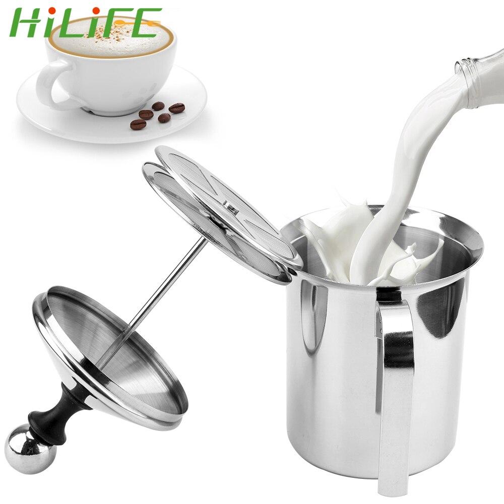 HILIFE 400/800ML çift örgü süt kreması manuel süt köpürtücü mutfak gereçleri süt köpüğü örgü kahve köpürtücü paslanmaz çelik