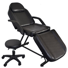 USA Warehouse Leather & Metal Tattoo Chair Beauty Salon Bed with Stool for Barber chair Salon Black