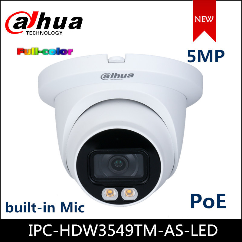 Dahua New Full Color IP Camera 5MP WizSense 3 Series Warm LED Eyeball Network Poe Camera IPC-HDW3549TM-AS-LED Built-in Mic