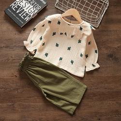 Bebê menina de duas peças conjunto 100% saft algodão primavera terno meninas roupas bordados crianças roupas meninas