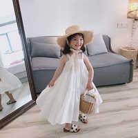 Новое поступление, летнее модное белое пляжное длинное платье для милых девочек, детские платья-комбинации без рукавов