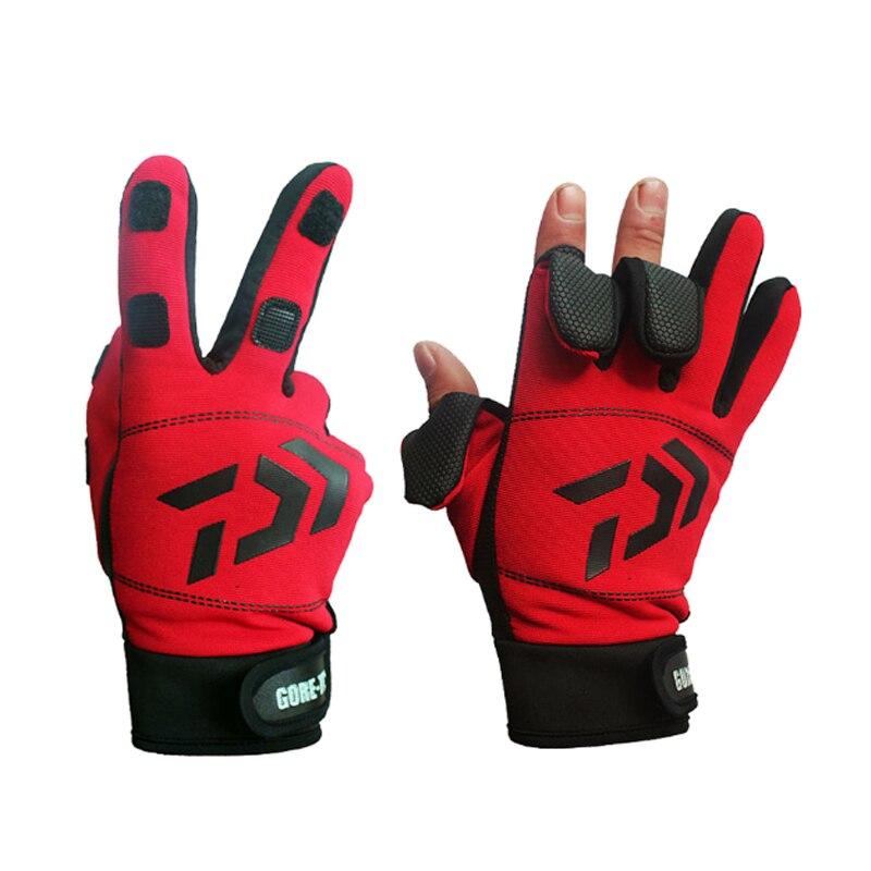 Daiwa 3 пальца уличные спортивные походные перчатки зимние теплые рыболовные перчатки хлопковые водонепроницаемые противоскользящие прочны...