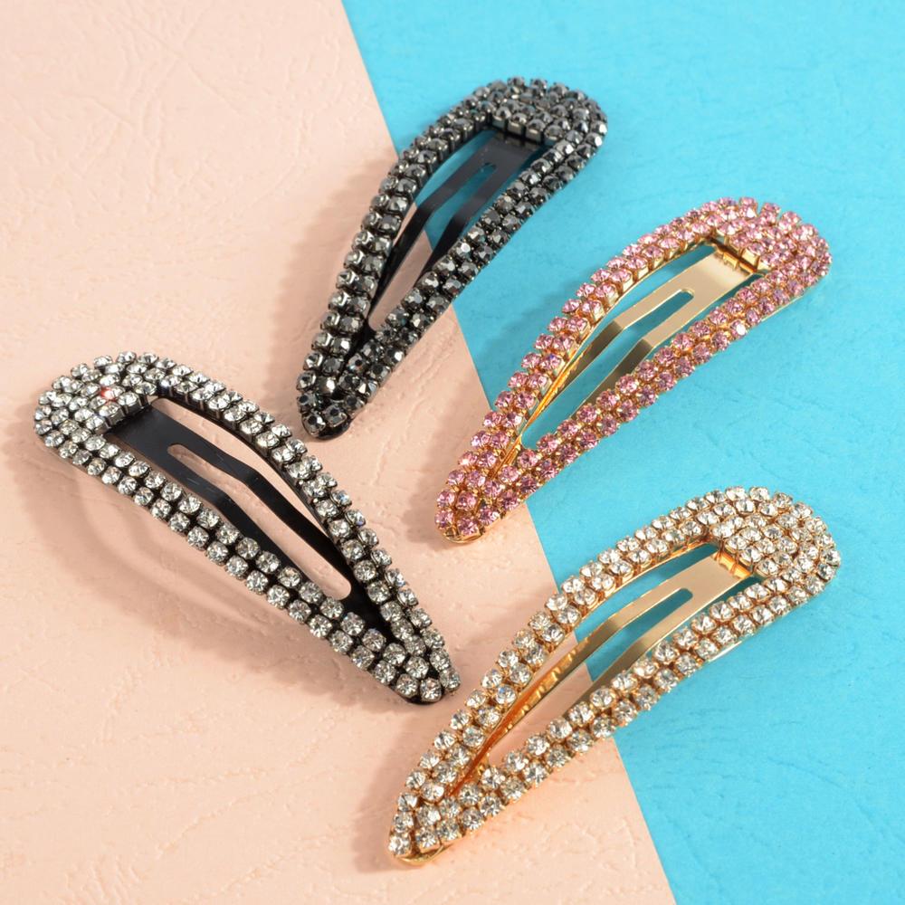 Women/'s Hair Clips Rhinestone Crystal Geometric Clamps Hairpin Barrette Slides