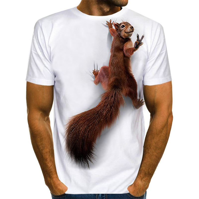 The latest men's squirrel T-shirt 3D printing shirt animal graphics cute pattern top men and women cute puppy face T-shirt