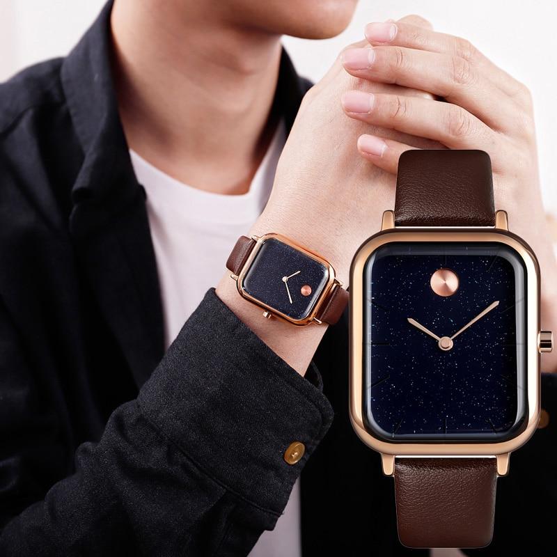 Couple Quartz Watch Innovative Starry Sky Rectangular Dial Men Women Wrist Watch Hh88
