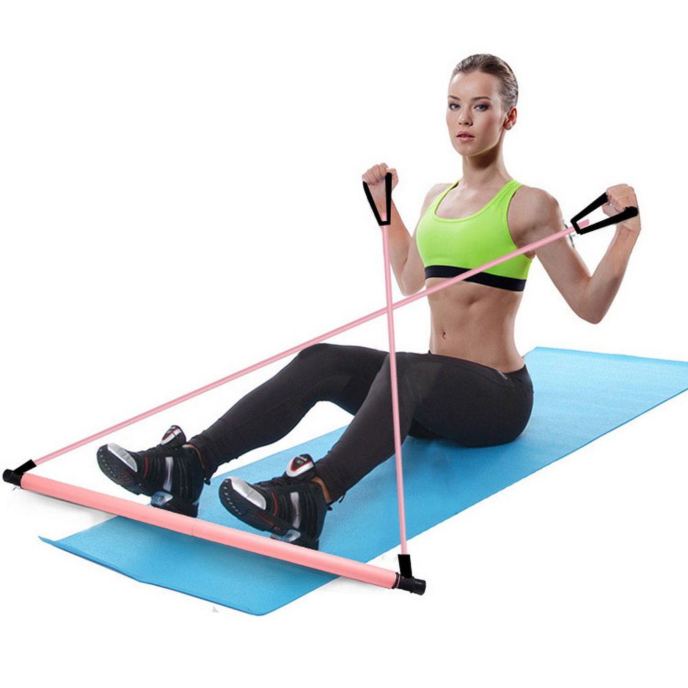 Pilates Exercise Stick Home Yoga Physical Exercise Stick Bdominal Resistance Band Drawstring Rope Puller Toning Bar Fitness
