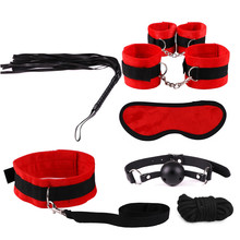 Two styles 7pcs sex toys for couples toys for men Handcuffs Nipple clip gag Leather whip rope cosplay Sex slave bdsm bondage