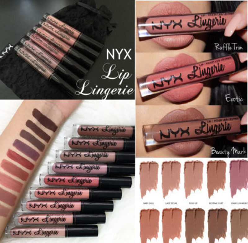 NYX Lingerie Matte Liquid Lipstick Waterproof Lip Gloss Makeup Matte Lip Gloss 12 Color Make Up Lip Tint Maquiagem Free Shipping