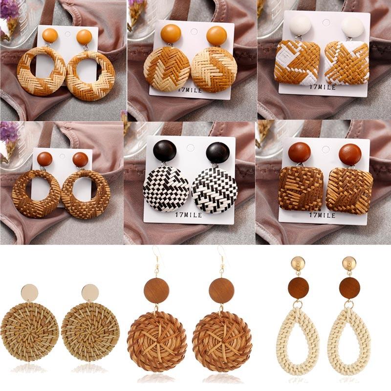 Donarsei Ethnic Leopard Rattan Earrings For Women Handmade Bohemian Geometric Water Drop Wood Dangle Earrings Boho Jewelry