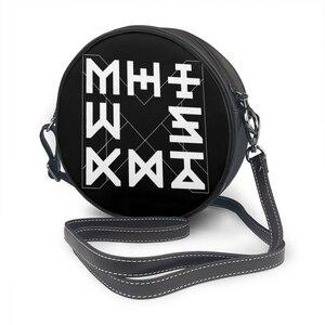 Image 1 - Monsta X Shoulder Bag Monsta X Aesthetic Logo Leather Bag Student Crossbody Women Bags Trending High quality Wedding Round Purse
