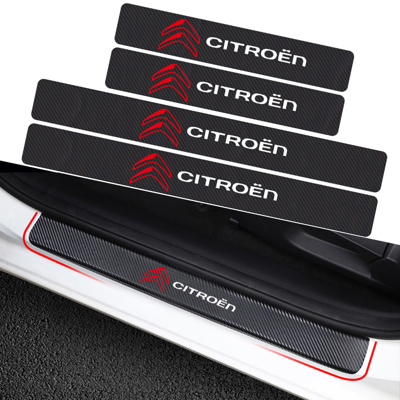 Car-Styling 4PCS Carbon Fiber Door Sill Carbon Fiber Sticker Decals For Citroen C4 C1 C5 C3 C6 C-ELYSEE VTS Car Accessories