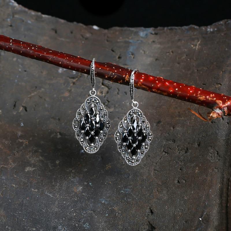 Vintage 925 en argent Sterling boucle d'oreille noir rouge argent boucles d'oreilles naturel grenat pierre boucles d'oreilles pour femmes filles bijoux